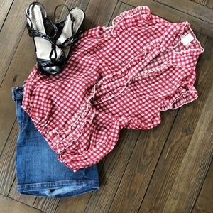 Blu Reed red and white checked ruffle Summer top